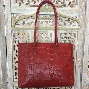 Bric's Red Crocodile Texture Leather Shoulder Bag